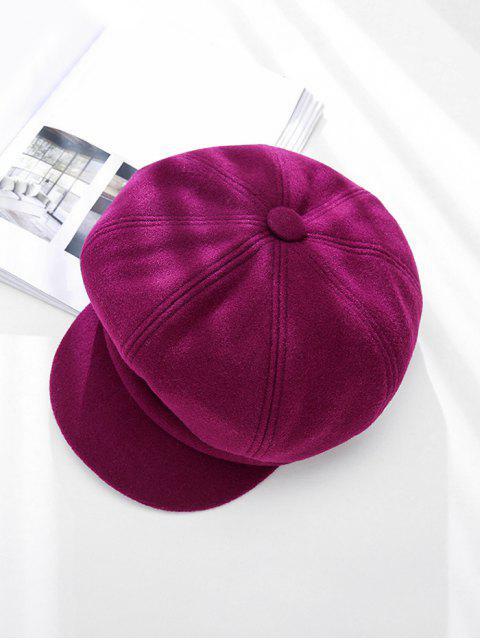 hot Peaked Solid Winter Octagonal Beret Hat - MAROON  Mobile