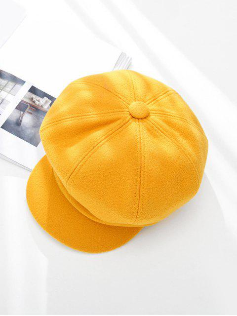 trendy Peaked Solid Winter Octagonal Beret Hat - YELLOW  Mobile