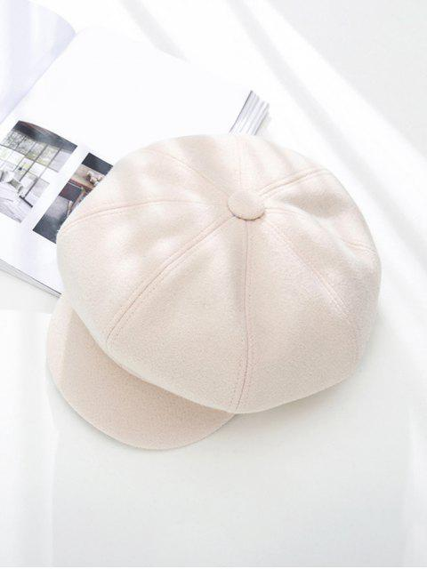 fancy Peaked Solid Winter Octagonal Beret Hat - WHITE  Mobile