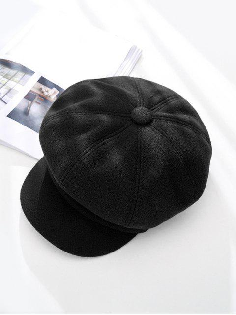 unique Peaked Solid Winter Octagonal Beret Hat - BLACK  Mobile