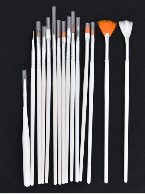 Pinceau de Beauté à Ongles 15 Pièces - Blanc  Mobile