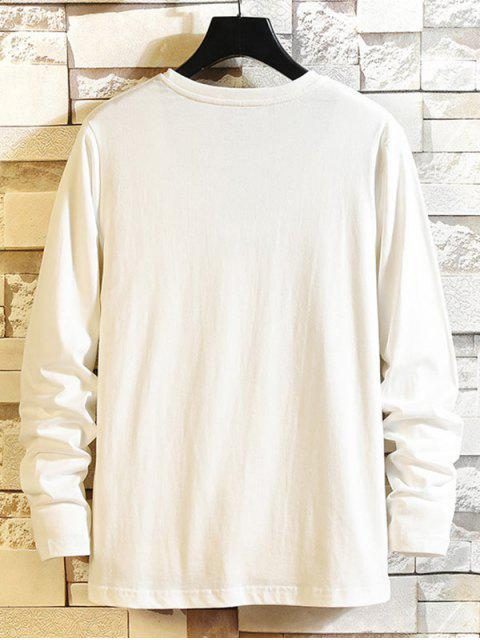womens Letter Graphic Long Sleeve Round Neck T-shirt - WHITE M Mobile