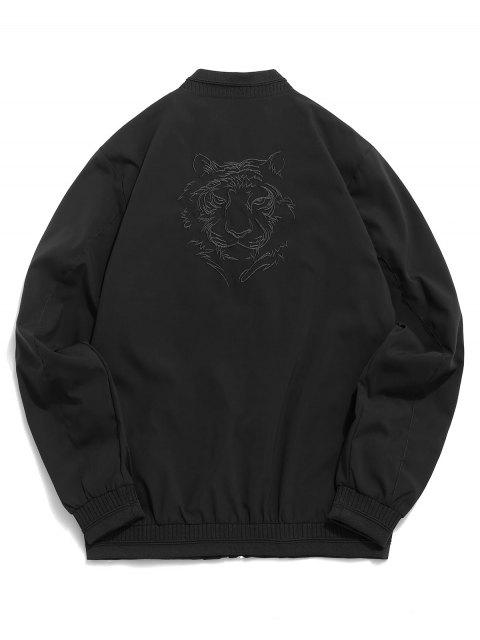 new Tiger Embroidery Zip Up Casual Jacket - BLACK L Mobile