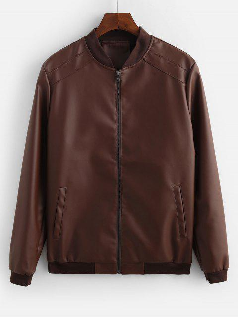 fashion Solid Color Pocket Decorated Jacket - COFFEE L Mobile