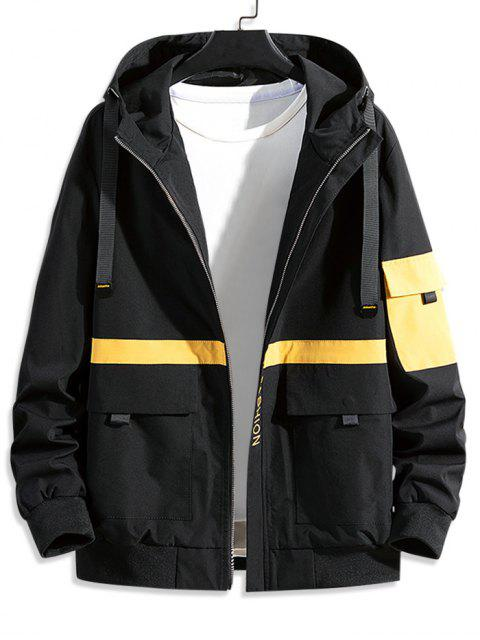 sale Colorblock Spliced Letter Graphic Hooded Cargo Jacket - BLACK L Mobile
