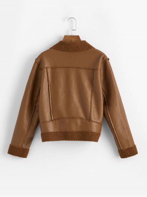 buy Zippered Pockets PU Leather Zip Front Biker Jacket - BROWN XL Mobile