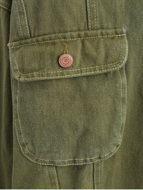Botón Chaqueta sólido con bolsillos - Ejercito Verde M Mobile