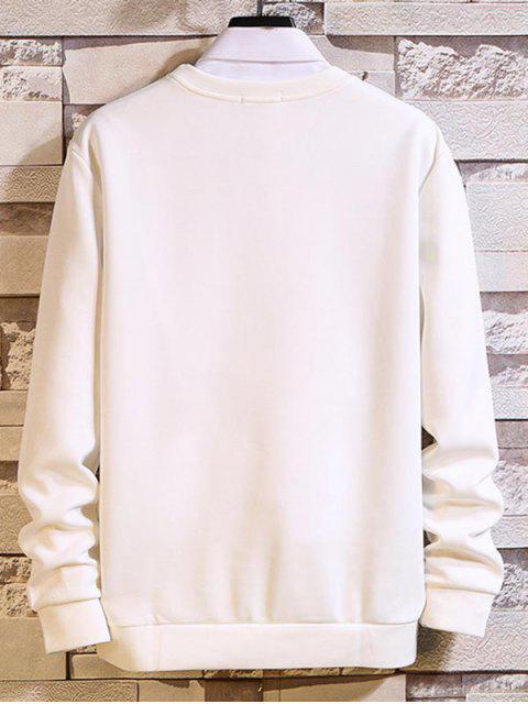 Lema Carta gráfica de cuello redondo de la camiseta - Blanco XL Mobile