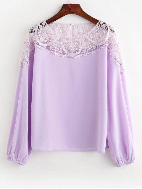shop ZAFUL Chiffon Lace Panel Office Blouse - WISTERIA PURPLE XL Mobile