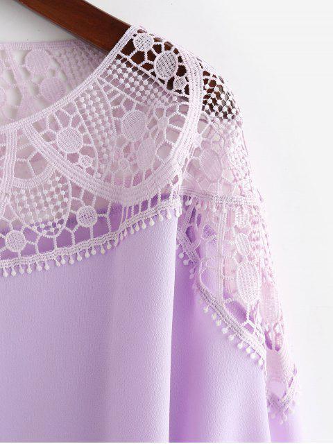 trendy ZAFUL Chiffon Lace Panel Office Blouse - WISTERIA PURPLE S Mobile