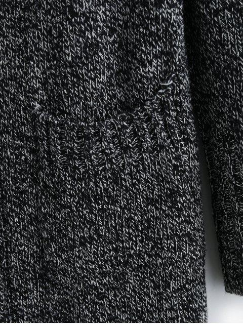 Steinig  Kapuze Knopf Vordertasche Strickjacke - Schwarz Eine Größe Mobile