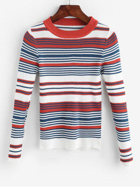 women's Striped Ribbed Knit Slim Sweater - MULTI-A ONE SIZE Mobile