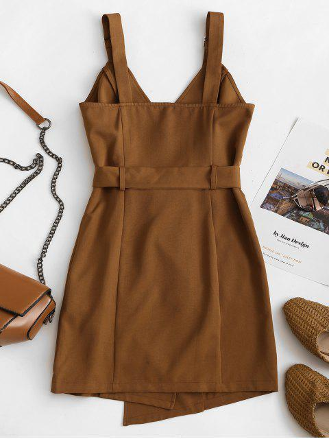 lady ZAFUL Belted Buckle Double Breasted Mini Dress - COFFEE S Mobile