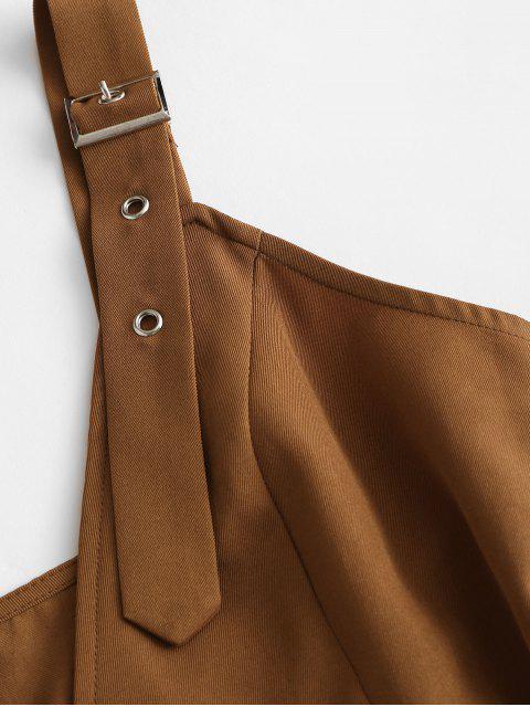 ZAFUL Mini Robe Bouclée Ceinturée à Double Boutonnage - Café L Mobile
