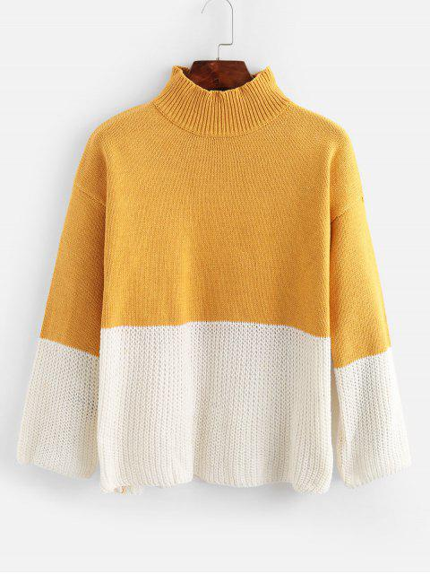 sale Drop Shoulder Mock Neck Two Tone Sweater - MULTI-A ONE SIZE Mobile