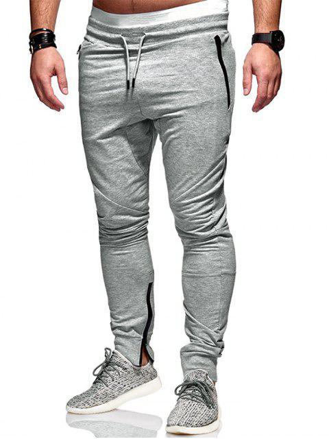 Pantalones Lápiz con Cremallera - Gris Claro M Mobile