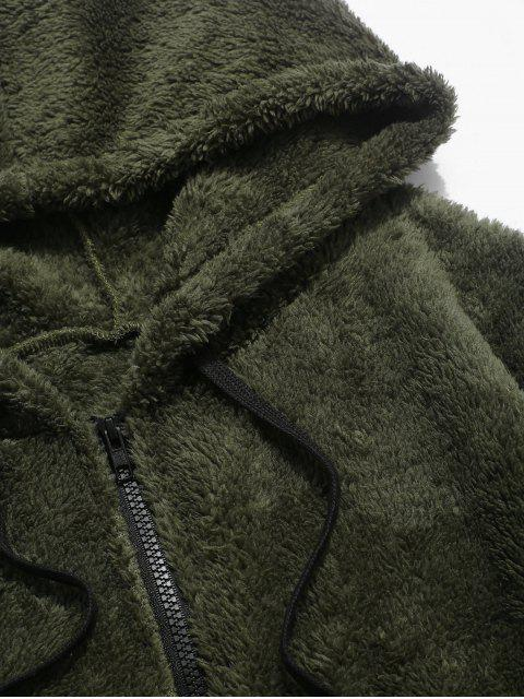 fancy Colorblock Splicing Faux Fur Fluffy Hooded Jacket - ARMY GREEN L Mobile