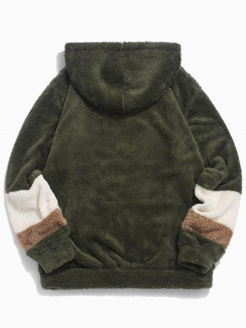 Veste à Capuche Fourrée en Blocs de Couleurs Jointive en Fausse Fourrure - Vert Armée M Mobile