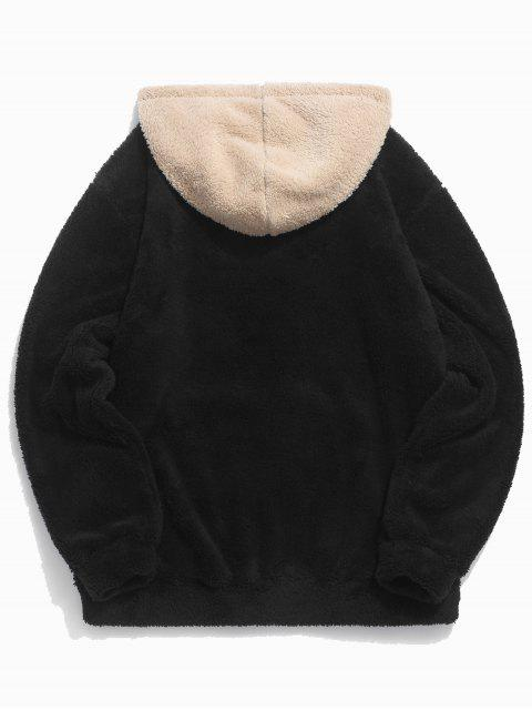 buy Colorblock Splicing Drawstring Fluffy Hoodie - BLACK L Mobile