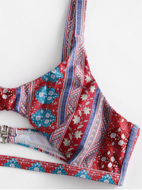 shops ZAFUL Bohemian Floral Cutout Bikini Swimsuit - MULTI-A L Mobile