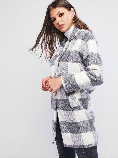 Manteau Long à Carreaux en Laine Mélangée à Revers - Gris M Mobile