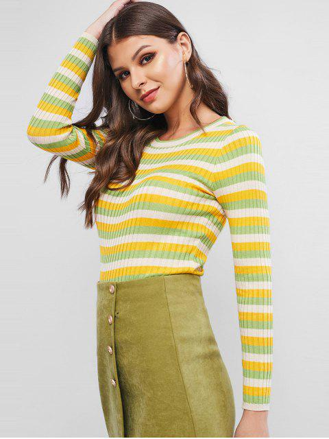 trendy Colorblock Ribbed Fitted Sweater - GREEN ONE SIZE Mobile