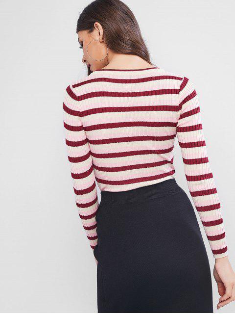 Farbblock Gewelltes Ausgestattet Pullover - Rosa Eine Größe Mobile
