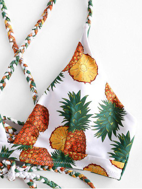 unique ZAFUL High Cut Lace Up Criss Cross Pineapple Bikini Swimsuit - BRIGHT YELLOW M Mobile