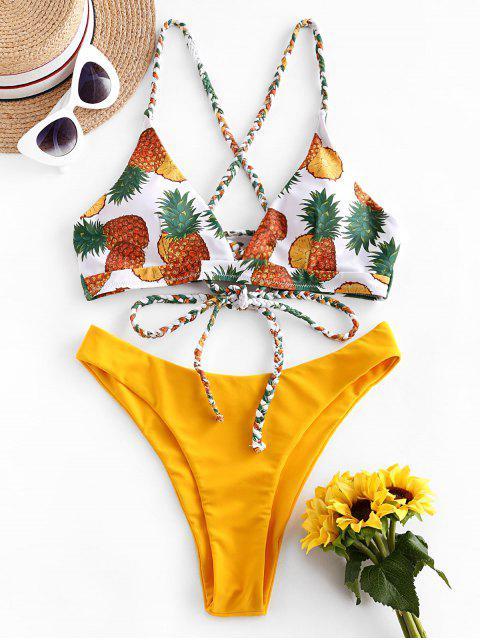 ZAFUL Hochgeschnittener Kreuzer und Querer Ananas-Bikini-Badeanzug mit Schnürung - Helles Gelb L Mobile