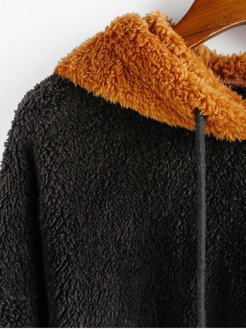 ZAFUL dos tonos mullido gota hombro peluche con capucha - Multicolor XL Mobile