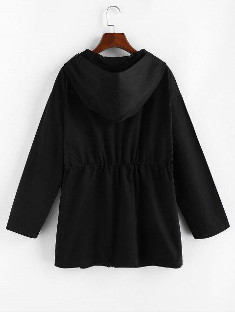 ZAFUL Manteau à Capuche en Blocs de Couleurs avec Poches à Cordon - Noir XL Mobile