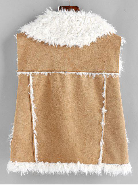women's ZAFUL Faux Shearling Lining Suede Waistcoat - CAMEL BROWN M Mobile