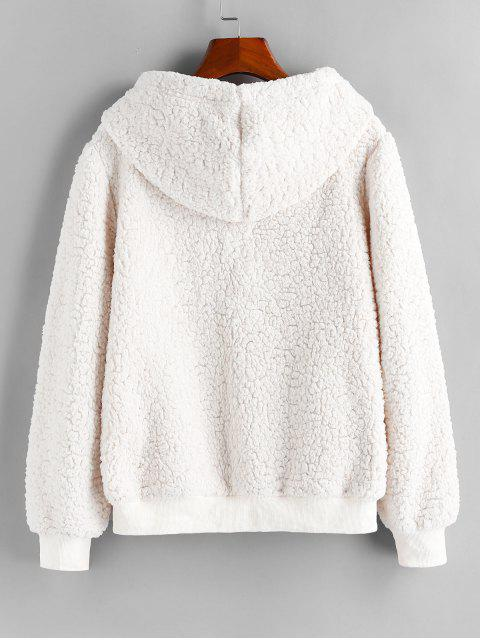 ZAFUL Carta bordado de imitación de piel de oveja con capucha - Blanco XL Mobile