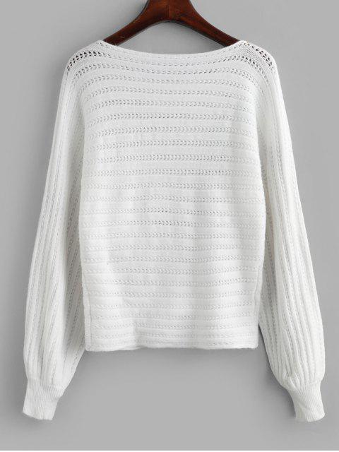 鏤空船領蝙蝠袖針織衫 - 白色 S Mobile