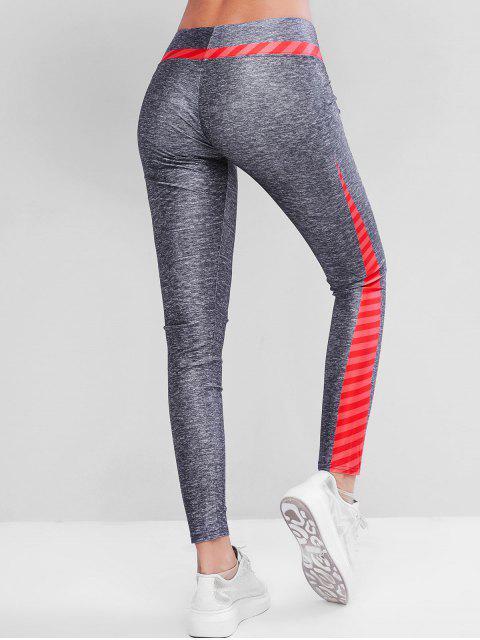Colorblock希瑟條紋緊身打底褲健身房 - 多 M Mobile