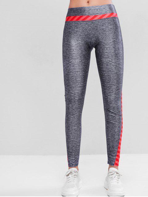 Colorblock希瑟條紋緊身打底褲健身房 - 多 L Mobile