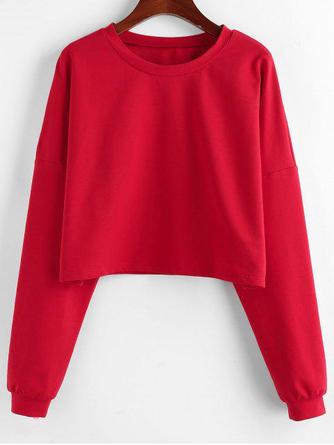 ZAFUL Fallschulter Pullover Crop Sweatshirt - Rot L Mobile