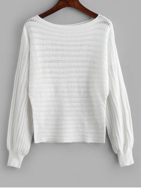 womens Openwork Boat Neck Batwing Sleeve Sweater - WHITE M Mobile
