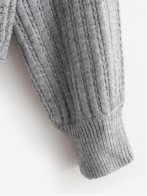 鏤空船領蝙蝠袖針織衫 - 灰色 L Mobile