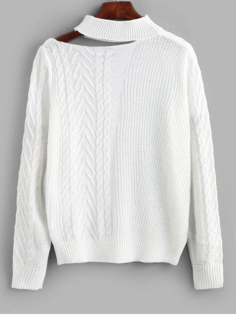 Zopfmuster Stehkragen Ausschnitt Pullover - Weiß L Mobile