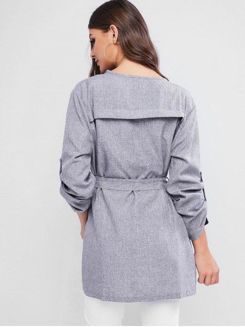 標籤袖束帶外套大衣Heathered - 灰色 M Mobile