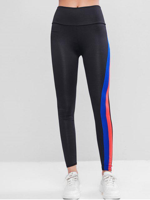 Gestreifte Seitliche Gymnastik Leggings mit Hoher Taille - Schwarz L Mobile