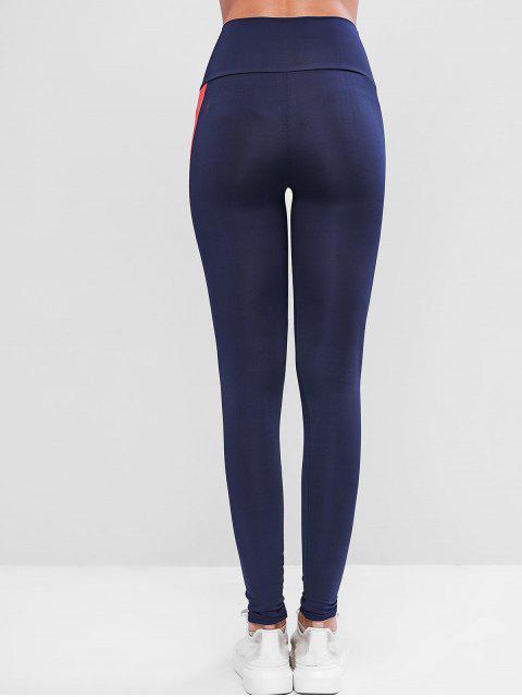Gestreifte Seitliche Gymnastik Gamaschen mit Hoher Taille - Blau XL Mobile