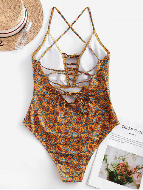 fashion ZAFUL Bohemian Flower Lace Up One-piece Swimsuit - MULTI-A M Mobile
