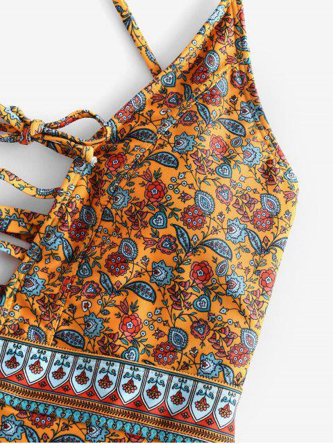 ZAFUL Богемный стиль Цветочный принт На шнуровке Слитный Купальник - Многоцветный-A L Mobile