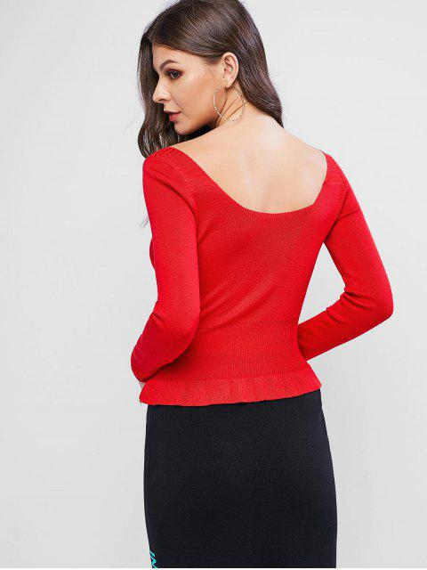 unique Scoop Neck Button Embellished Peplum Sweater - RED ONE SIZE Mobile