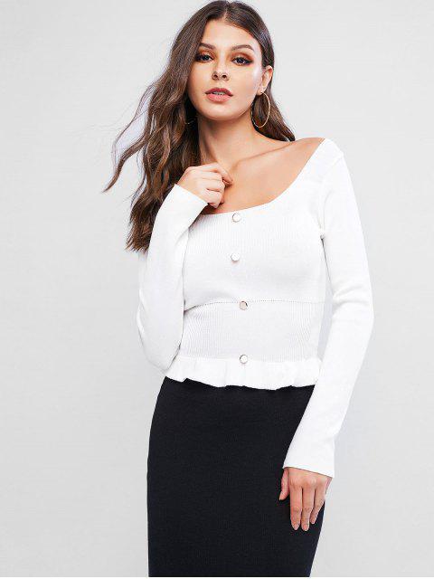 圓領扣點綴Peplum毛衣 - 白色 One Size Mobile
