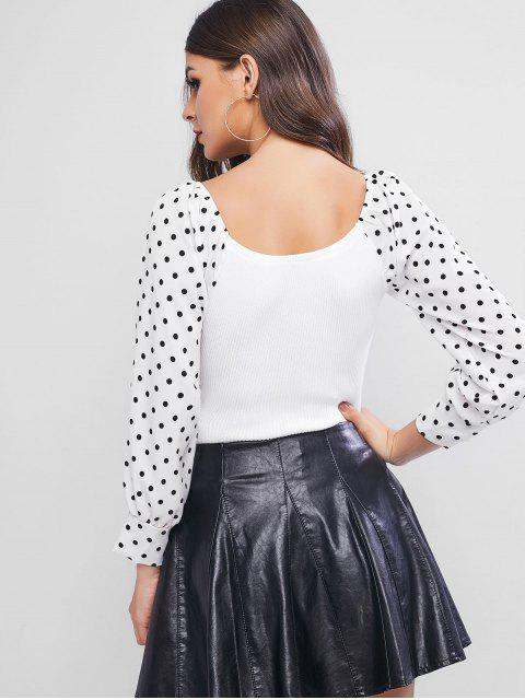 Tupfen Gemischte Media Raglanärmel Pullover - Weiß Eine Größe Mobile
