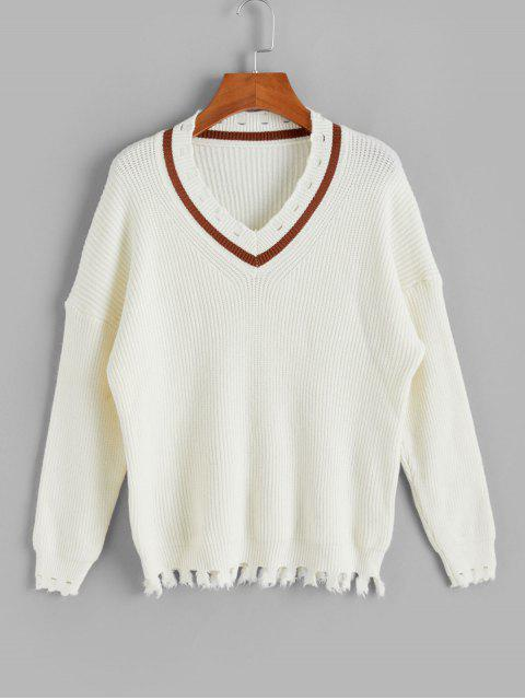 fancy Drop Shoulder V Neck Distressed Jumper Sweater - WHITE ONE SIZE Mobile