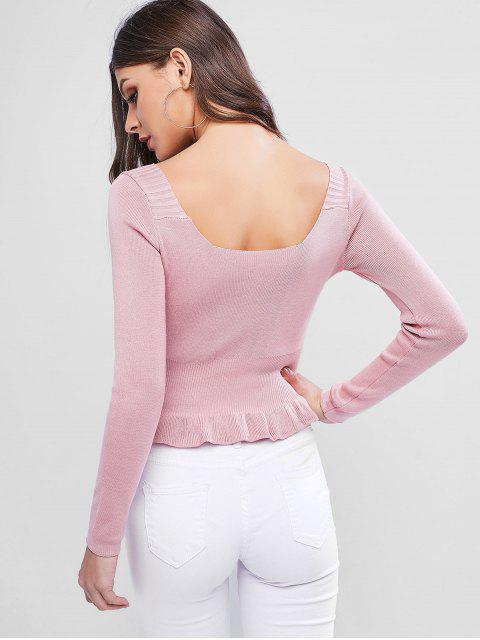 U Ausschnitt Knopf Verschönerter Peplum Pullover - Rosa Eine Größe Mobile